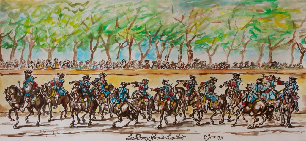 Watercolor painting of Douze Grand Hautbois by Giuseppe Nalin